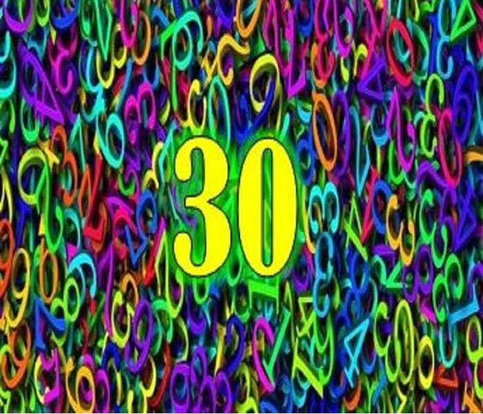 Different numbers in different colors with the number 30 enlarged.